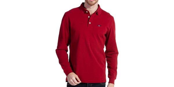 Pánské červené bavlněné polo s dlouhým rukávem Galvanni