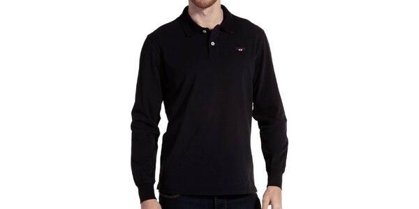 Pánské černé polo triko s dlouhým rukávem Galvanni