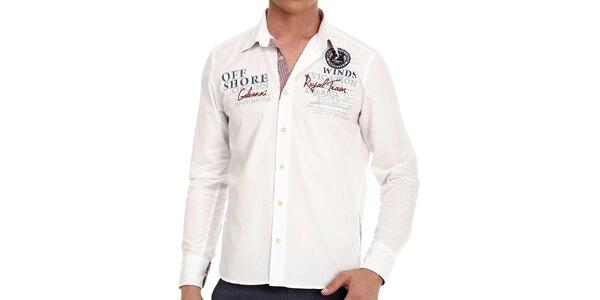 Pánská bílá košile s výšivkou na zádech Galvanni