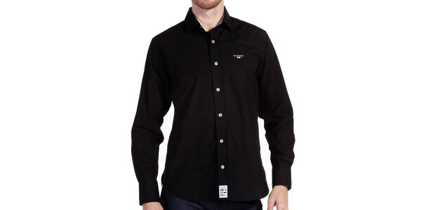 Pánská černá košile na knoflíky Galvanni