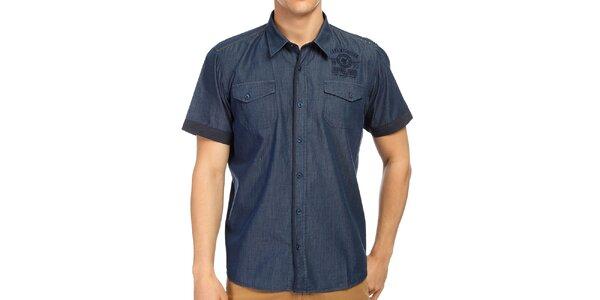 Pánská modrá košile s krátkým rukávem Galvanni