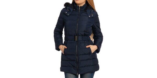 Dámský tmavě modrý kabát s kožíškem Galvanni