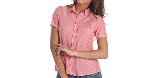 Dámská košile s výšivkou v korálové barvě Galvanni