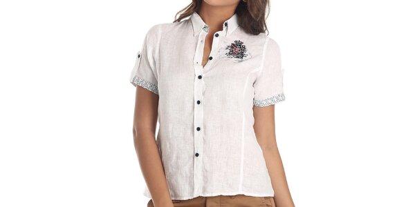 Dámská bílá košile s krátkým rukávem Galvanni
