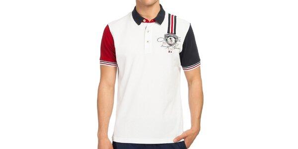 Pánské bílé polo tričko s kontrastními rukávy Galvanni