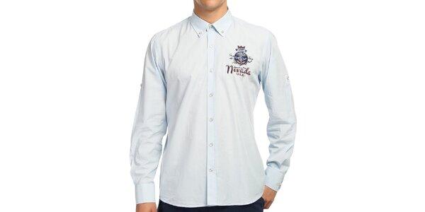 Pánská světle modrá košile s barevnými detaily Galvanni