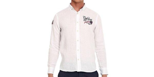 Pánská bílá košile s nášivkou na rukávu Galvanni