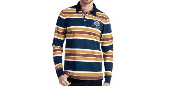 Pánské barevně pruhované polo triko Galvanni