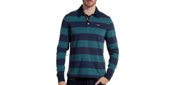 Pánské modro-zeleně pruhované polo triko Galvanni