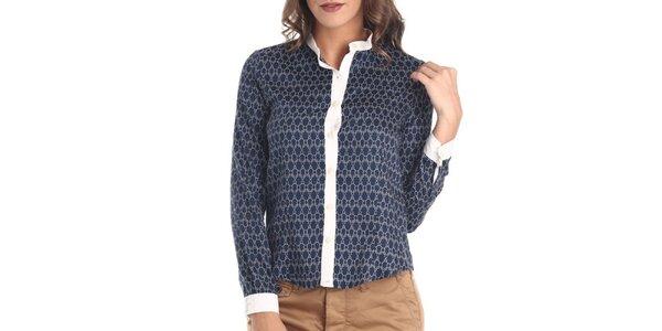 Dámská modrá košile s bílým vzorem Galvanni