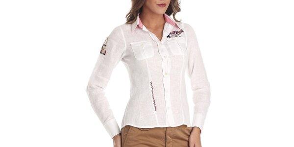 Dámská bílá lněná košile s výšivkami Galvanni