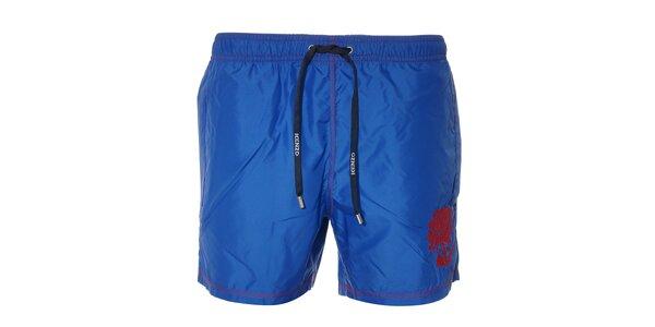 Pánské plavky Kenzo v modré barvě s červenou výšivkou