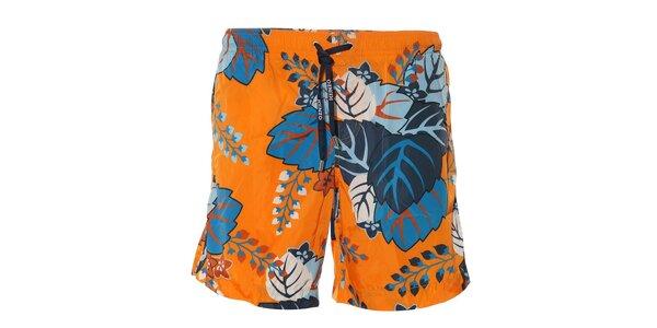 Pánské plavky Kenzo v oranžové barvě s potiskem