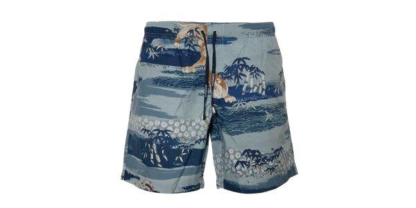 Modré pánské plavky Kenzo s přírodním motivem
