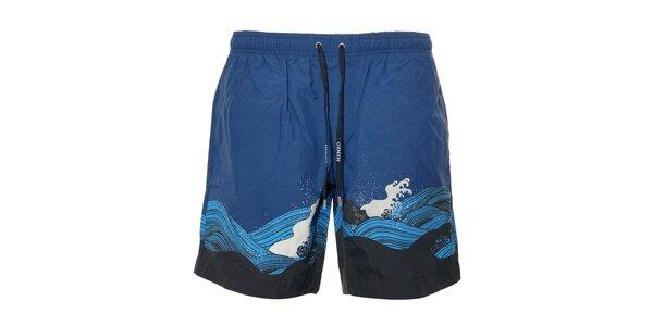 Pánské plavky Kenzo v modré barvě s potiskem mořských vln