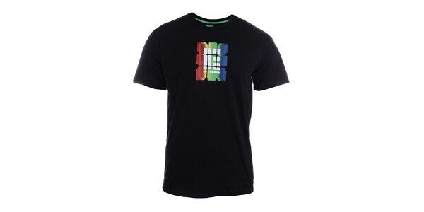 Pánské černé tričko s barevným potiskem Envy