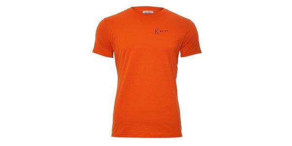 Pánské triko Kenzo v oranžové barvě s originálním potiskem na zádech