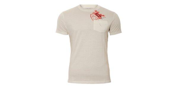Pánské triko Kenzo ve smetanové barvě s potiskem