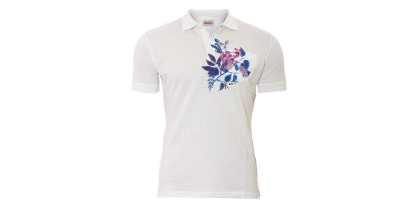 Pánské polo triko Kenzo s modrým květinovým motivem