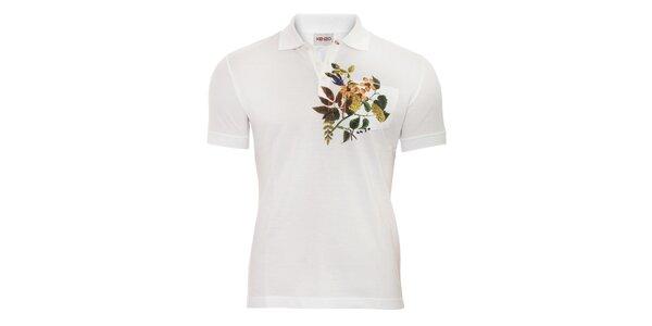Pánské polo triko Kenzo se zeleným květinovým motivem
