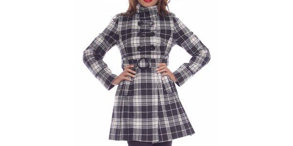 Dámský černo-bílý károvaný kabát Vera Ravenna