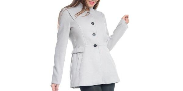 Dámský světle šedý krátký kabát Vera Ravenna