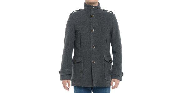 Pánský šedý kabát s knoflíky Vera Ravenna