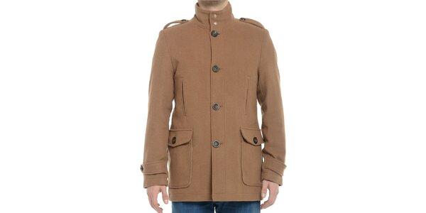 Pánský světle hnědý kabát s knoflíky Vera Ravenna