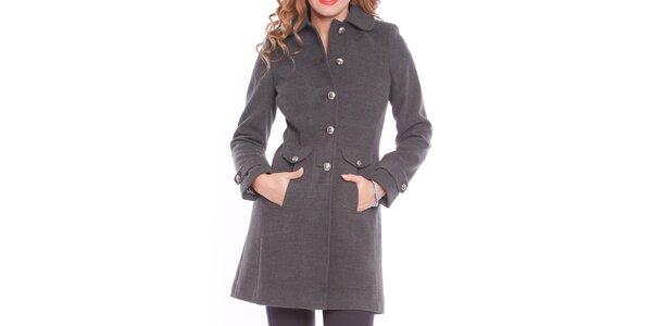 Dámský šedý kabát s kapsami Vera Ravenna