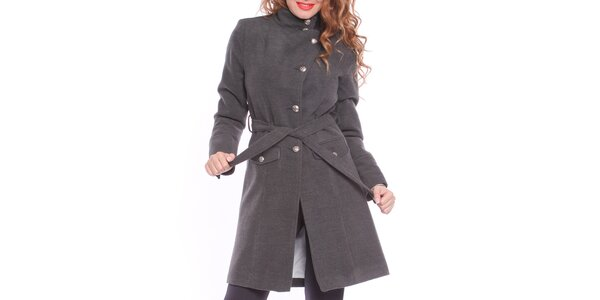 Dámský šedý zavazovací kabát Vera Ravenna