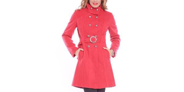 Dámský červený kabát se sponou Vera Ravenna
