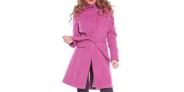 Dámský fialový zavazovací kabát s podšívkou Vera Ravenna