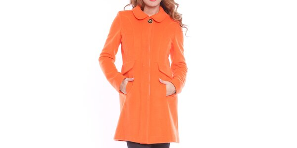 Dámský oranžový kabát s ozdobným knoflíkem Vera Ravenna