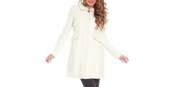 Dámský smetanově bílý kabát s ozdobným knoflíkem Vera Ravenna