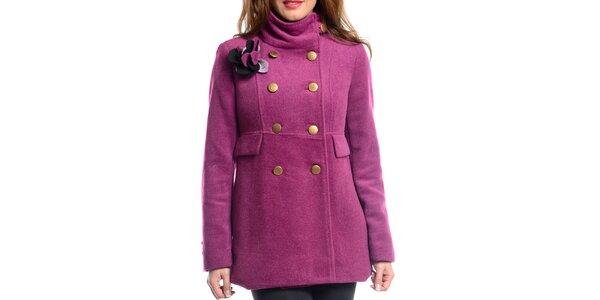 Dámský fuchsiový kabát s ozdobou Vera Ravenna