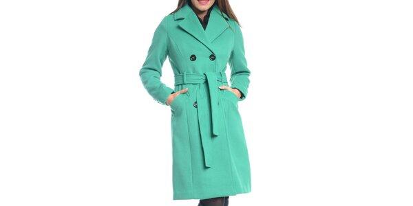 Dámský zelený kabát s páskem Vera Ravenna