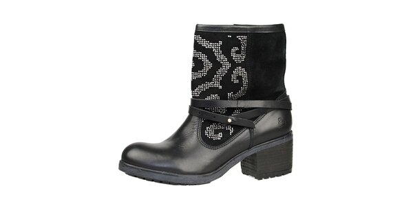 Dámské černé kotníkové boty se stříbrnými kamínky Bullboxer