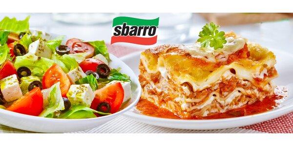 1× či 2× těstoviny nebo salát v restauracích Sbarro