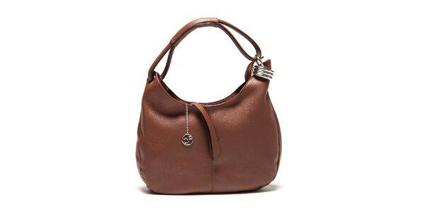 Dámská hnědá kožená kabelka s kovovou ozdobou Carla Ferreri