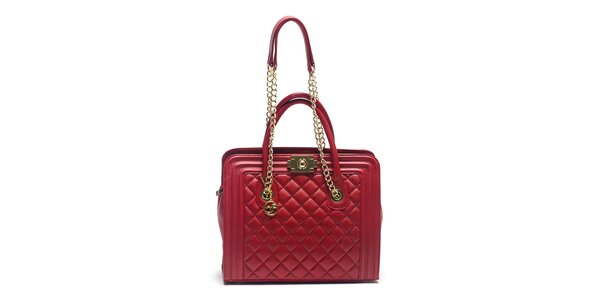 Dámská červená kožená kabelka s řetízkovými uchy Carla Ferreri