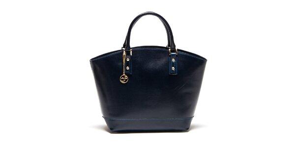 Dámská tmavě modrá kožená kabelka Carla Ferreri