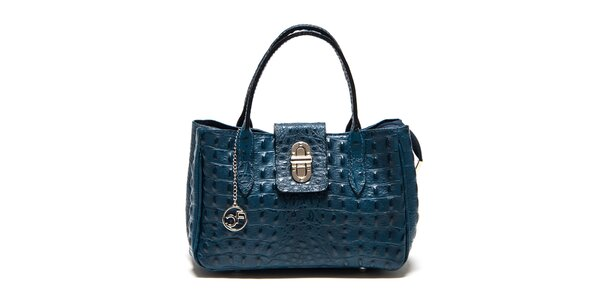 Dámská modrá kožená kabelka s krokodýlím vzorem Carla Ferreri