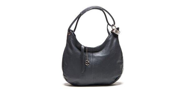 Dámská tmavě šedá kožená kabelka s kovovou ozdobou Carla Ferreri