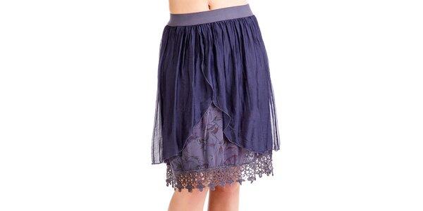 Dámská modrá vrstvená sukně z hedvábí Keysha