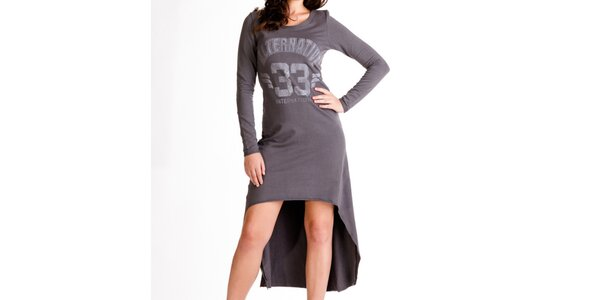 Dámské antracitové šaty s dlouhým rukávem Keysha