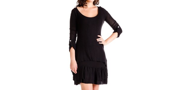 Dámský černý komplet - šaty a svetřík Keysha