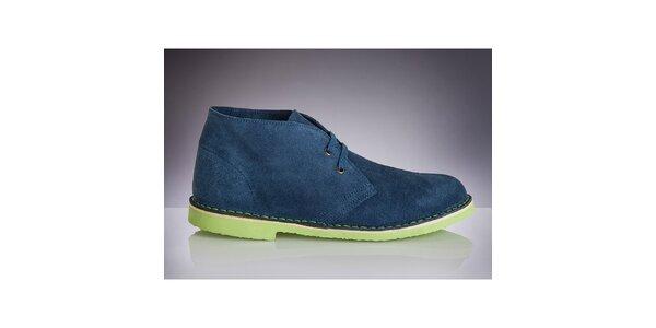Pánské modré boty se zelenou podrážkou Roamers