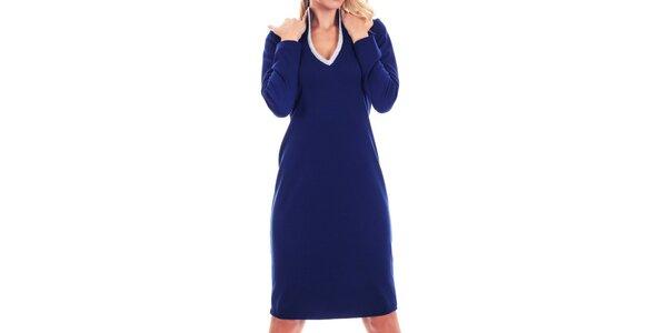 Dámské modré šaty se stříbrně lemováným výstřihem Berry Couture