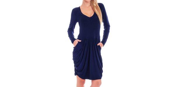 Dámské tmavě modré šaty s dlouhým rukávem Berry Couture