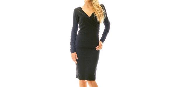 Dámské černé šaty s efektním řasením Berry Couture